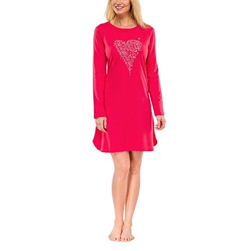 Schiesser Damen Nachthemd Bigshirt 1/1 Arm, 85 cm, Gr. 44 (Herstellergröße: 044), Rot (rot 500)