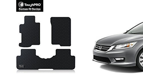 ToughPRO Honda Accord Floor Mats set - All Weather - Heavy Duty -Black Rubber - (2013-2014-2015-2016-2017) (Car Mats Honda Accord compare prices)