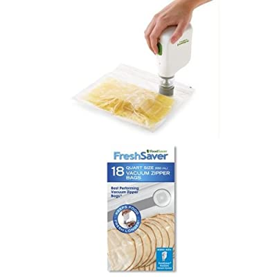 FoodSaver FSFRSH0051 FreshSaver Handheld Vacuum Sealing System and 18 Quart-sized Vacuum Zipper Bags Bundle by FoodSaver