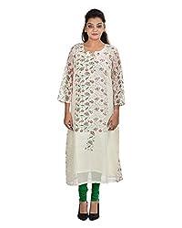 Damyantii Women's Plus Size Straight Off White Kurta (DMK_00090_XL)