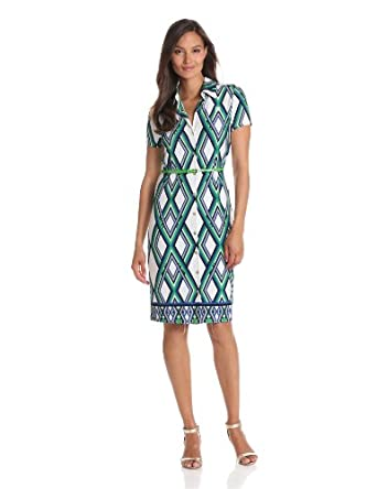 Anne Klein Women's Petite Lattice Print Belted Dress, Lawn Multi, Large