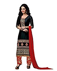 Neets Fashion Women's Cotton Semi Stitched Dress Material(GAU-1201_Green)