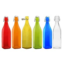 satyam kraft High Quality Freeze Safe Air Tight Flip Cap Clear Glass Water Bottle colour 1ltr pack of (3 pcs random Clr)