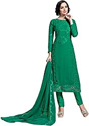 Go Traditional Women's Georgette Unstitched Dress Material (Green)