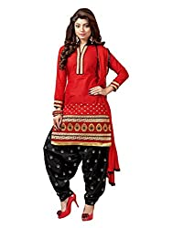 RADHE STUDIO Brown and Black Color Cotton Embroidered Salwar Suit With Cotton Bottom And Chiffon Dupatta