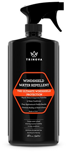 Windshield Rain Repellent - Glass Treatment Causes Water to Bead, Increased Visibility While Driving Car, Truck, Boat, SUV, RV. 18oz - TriNova (Car Glass Water compare prices)