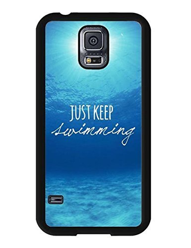 Customized Finding Nemo Keep Swimming Quote Anime Image Galaxy S5 Hard Plastic Case Cover for Samsung Galaxy S5 (Fancy Clownfish)
