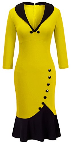 Homeyee® Women's V neck Ball Fishtail Pencil Dress UB27