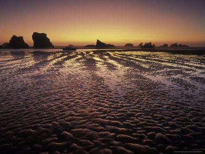 Bandon Beach and Sunset Afterglow, Bandon Beach State Park, Oregon
