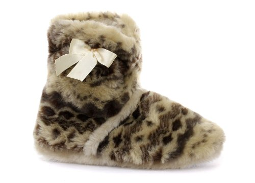 Image of Dunlop Honey Beige Bow Womens Boot Slippers (B005PN7O3I)