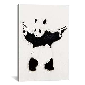 """iCanvasART Banksy (Reproduction) Panda With Guns Canvas Art Print Poster #2075 18""""x12"""""""