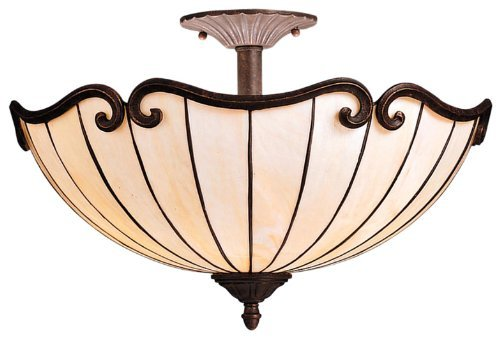 Kichler Lighting 69046 2-Light Clarice Art Glass Semi-Flush Ceiling Light, Tannery Bronze with Gold Accent