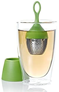 AdHoc Floating Tea Egg, Infuser with Stand, Ready to Use, Stainless Steel / Nylon Green, 13 cm, TE08
