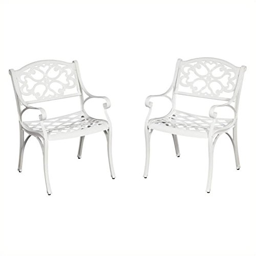 Home Styles 5552-802 Biscayne Arm Chair, White Finish, Set of 2
