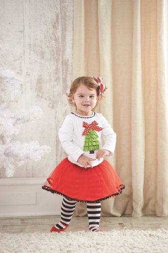 Mud Pie Girls Christmas Tree Outfit Set , Multi, 2T - 5T