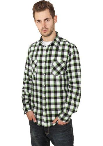 "Urban Classics Herren ""Tricolor Checked Light Flanell Shirt"", Größe: M, Farbe: black-white-limegreen"