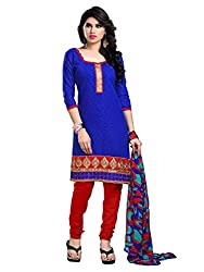 Look N Buy Latest Blue & Red Embroidered Dress Material
