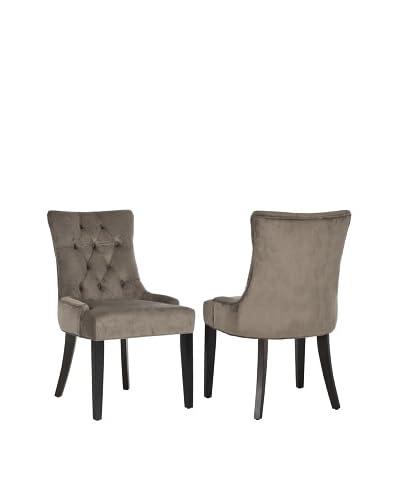 Safavieh Set of 2 Ashley Kid Side Chairs, Mushroom Taupe