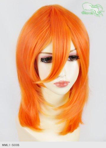 スキップウィッグ 魅せる シャープ 小顔に特化したコスプレアレンジウィッグ フェザーミディ ネオンオレンジ