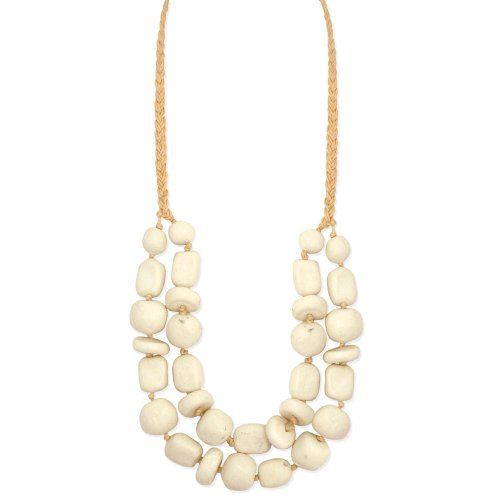 ZAD 2-Line White Stone Chunky Fashion Necklace on Natural Cotton Cord