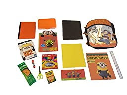 Minons Despicable Me 15-piece School Set Bundle, 16-inch Backpack, Notebook, Pencils, Crayons, Markers, Scissors and More
