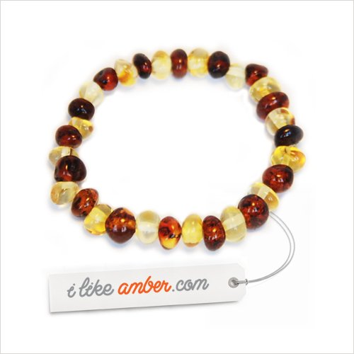 STRETCH 13-15cm Genuine Baltic Amber Teething Bracelet Anklet - Child Baby size Cherry-Lemon color - Baroque Beads