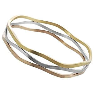 Brinley Co Tri-tone Stainless Steel Wavy Bangle Bracelet