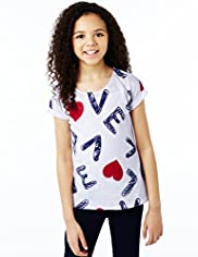 Love Print T-Shirt with Vest