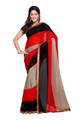 Fabdeal Womens Synthetic Saree 1439 Red Black