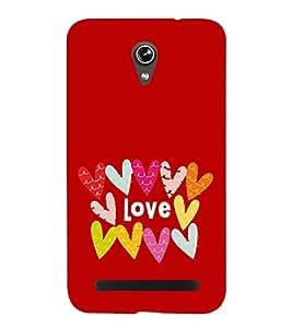 Multicolour Love Hearts 3D Hard Polycarbonate Designer Back Case Cover for Asus Zenfone Go ZC500TG (5 Inches)