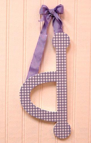"""My Baby Sam 9"""" Lavender Gingham Hanging Letter, D"""