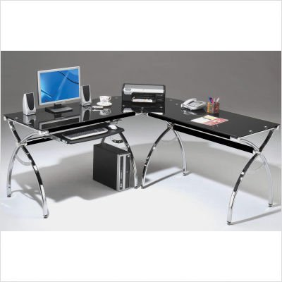 Buy Low Price Comfortable Mad Tech 30x55x60.75 Black Glass Panels & Chrome Frame Computer Office Desk Table (B004W0MJLM)