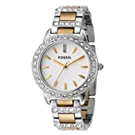 Fossil Women's ES2409 Two-Tone Stainless Steel Bracelet White Glitz Analog Dial Watch