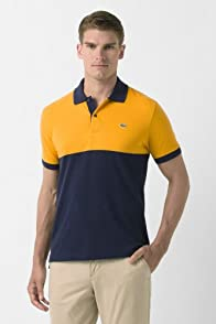 Short Sleeve Color Block Pique Polo Shirt