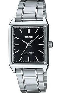 CASIO MTP-V007D-1 - Reloj con movimiento cuarzo japonés, para mujer, color negro y plateado