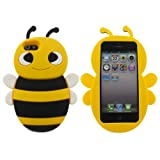 Lovely Yellow 3D Bee Shape Soft Silicone Gel Back Case Cover for Apple iPhone 5