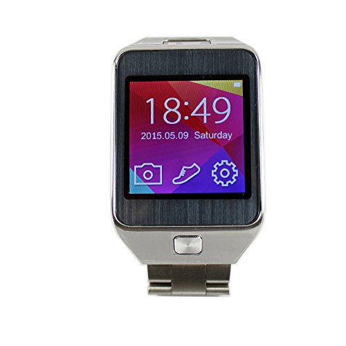 "ANDROSET 1.54"" TFT Screen Smartwatch with Metal Band for Smartphone, Bluetooth 4.0 / 2.0MP Camera / Heart Rate Sensor / Pedometer / Remote-control (Supports Bluetooth 4.0/3.0, 2MP camera)"