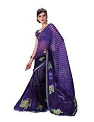 Anvi Creations Printed With Highlight Embroiderey Maroon Multi Georgette Saree (Maroon_Free Size)