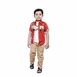 Colors Kids Shirt Tshirt Pant Set For Boys(3 - 4 Yrs) Orange
