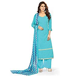 Parisha Latest Sky Blue Embroidered Dress Material