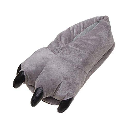 [Amigo Unisex Plush Bear Paw Animal Slippers, Gray, S (little kid 12 to little kid 3)] (The 3 Amigos Costume)