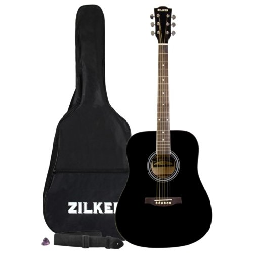 b32bc153a7 Zilker ZA1BK Dreadnought Acoustic Guitar Pack with Gig Bag Strap and Pick  Black