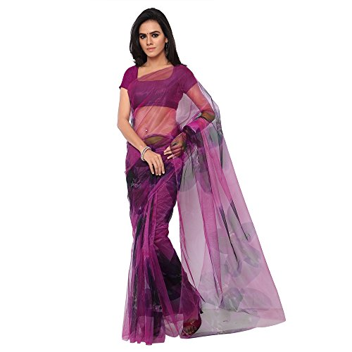 GL Women\'s Purple Net Printed Saree with Blouse Piece