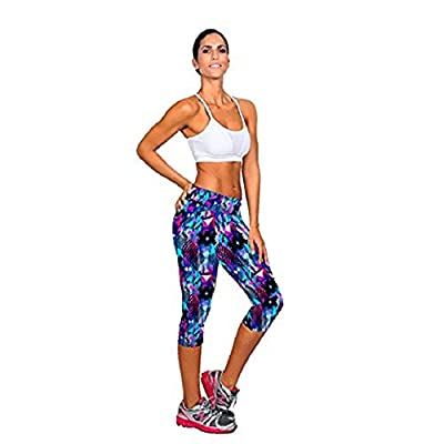 Sunflower® Womens Tartan Active Workout Capri Leggings Fitted Stretch Tights