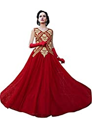 Whatshop Red Hot Designer Embroidered Floor Length Gown