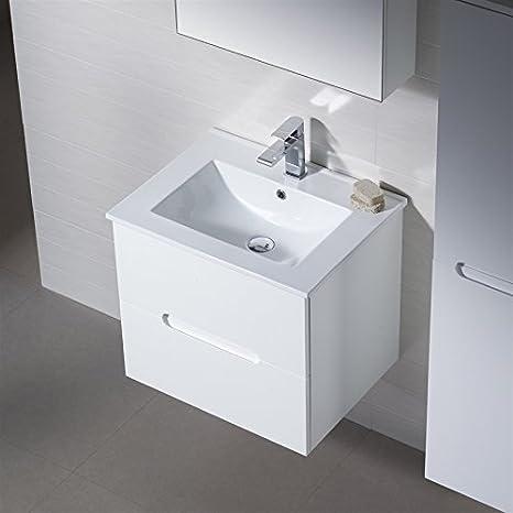 Wall Mount Bathroom Vanity Elton 24 Dark Walnut with Porcelain Sink Top