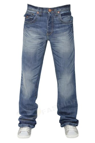 Mens Regular Boot Cut Denim Jeans Lightwash 28 S