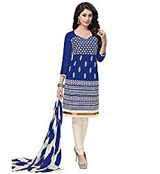 RK Fashion Blue Color Fine Cotton Unstitched Embroidered Dress Material (MAH111-Blue-Free Size)
