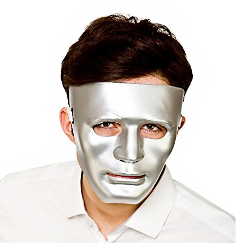 [Adult Deluxe Robot Silver Anonymous Face Mask Fancy Dress Accessory] (Easy Movie Fancy Dress Costumes)