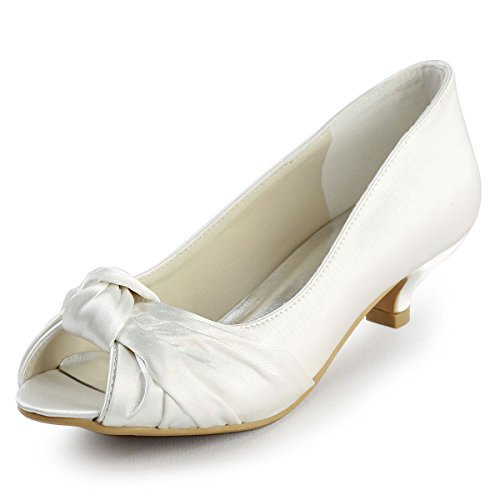 ElegantPark EP2045 Women's Peep Toe Low Heels Pumps Knot Satin Evening Party Wedding Bridal Shoes Ivory US 8